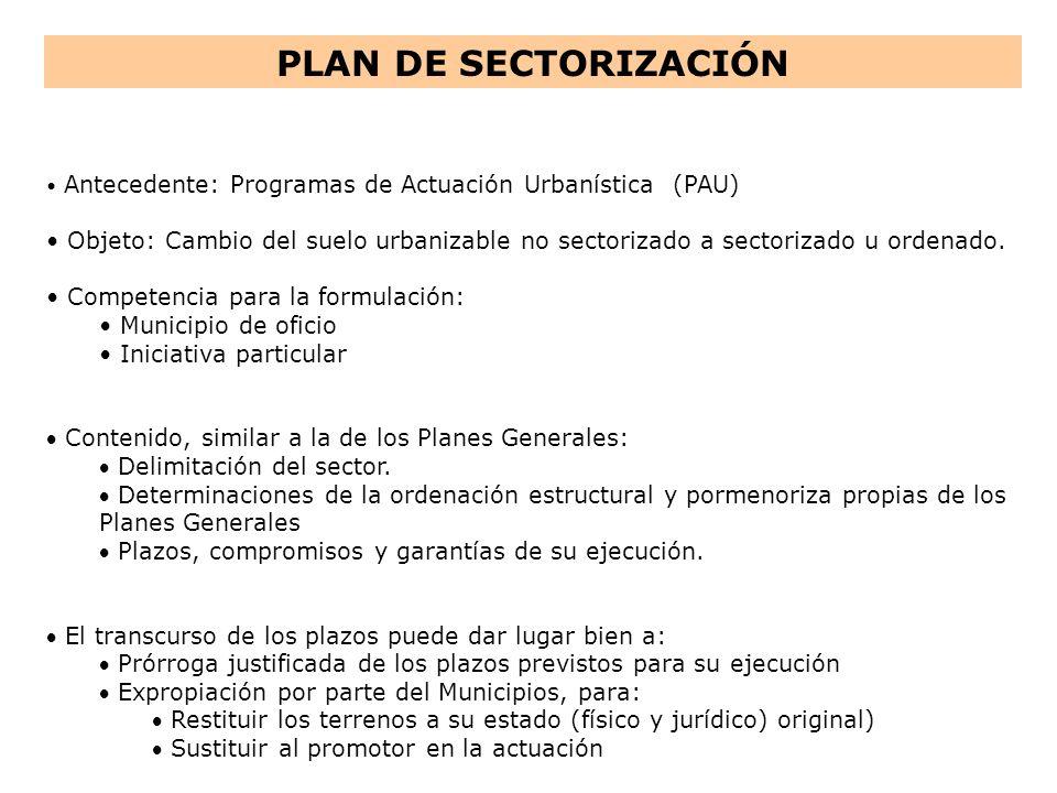 PLAN DE SECTORIZACIÓN Antecedente: Programas de Actuación Urbanística (PAU) Objeto: Cambio del suelo urbanizable no sectorizado a sectorizado u ordena