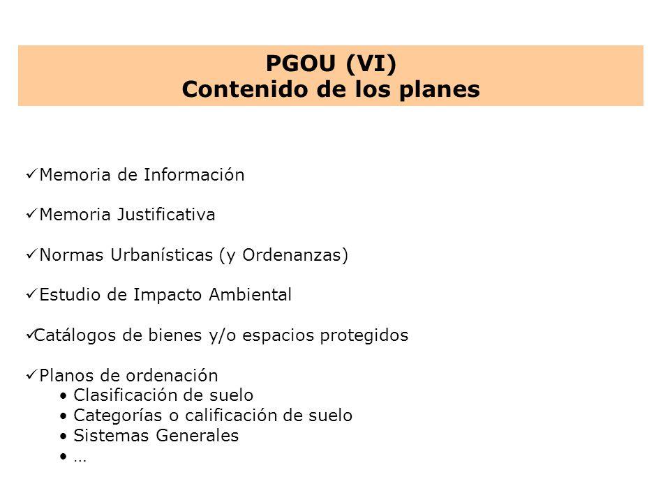 Memoria de Información Memoria Justificativa Normas Urbanísticas (y Ordenanzas) Estudio de Impacto Ambiental Catálogos de bienes y/o espacios protegid
