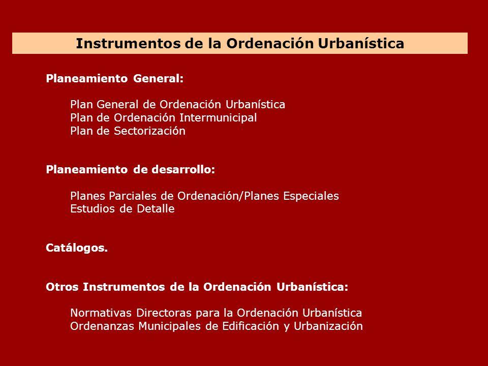 Planeamiento General: Plan General de Ordenación Urbanística Plan de Ordenación Intermunicipal Plan de Sectorización Planeamiento de desarrollo: Plane