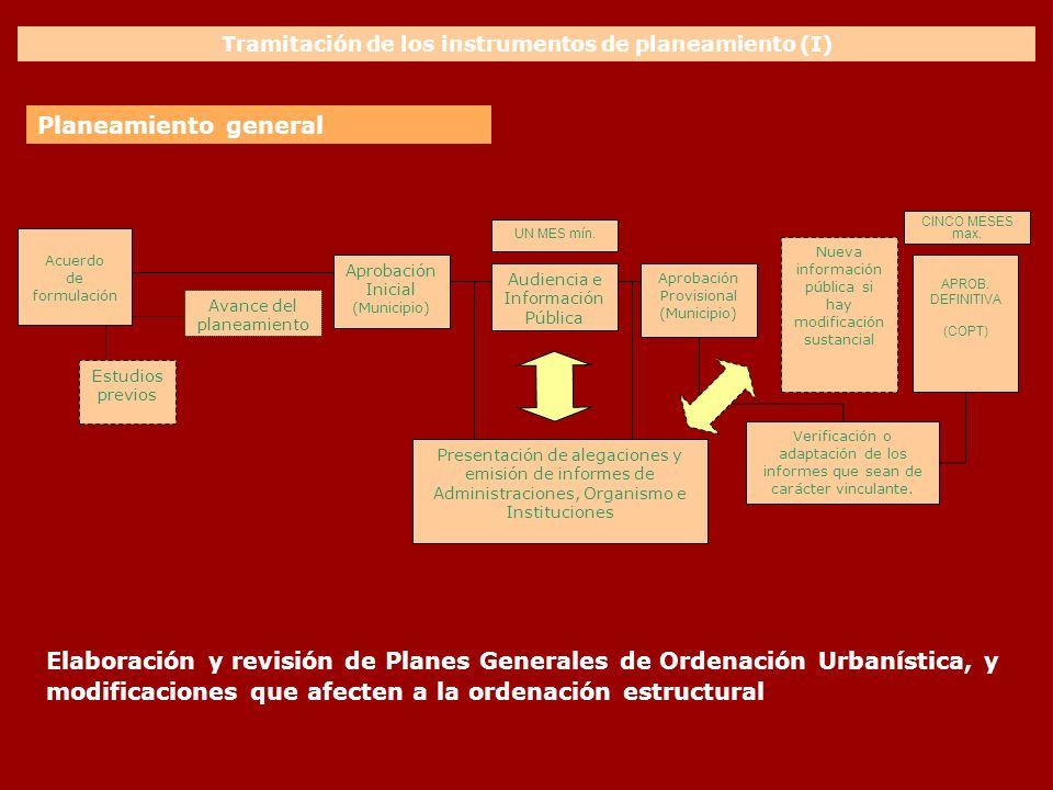 Tramitación de los instrumentos de planeamiento (I) Elaboración y revisión de Planes Generales de Ordenación Urbanística, y modificaciones que afecten
