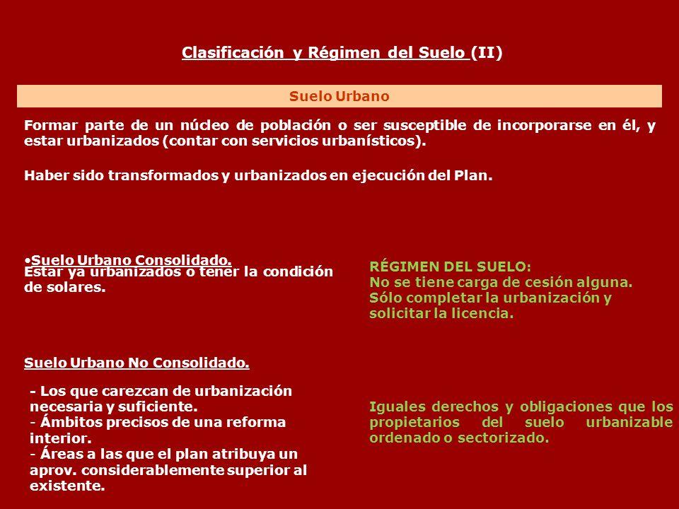 Clasificación y Régimen del Suelo (II) Suelo Urbano Formar parte de un núcleo de población o ser susceptible de incorporarse en él, y estar urbanizado