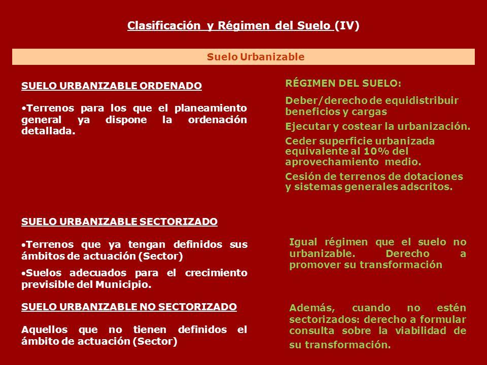Clasificación y Régimen del Suelo (IV) Suelo Urbanizable SUELO URBANIZABLE ORDENADO Terrenos para los que el planeamiento general ya dispone la ordena