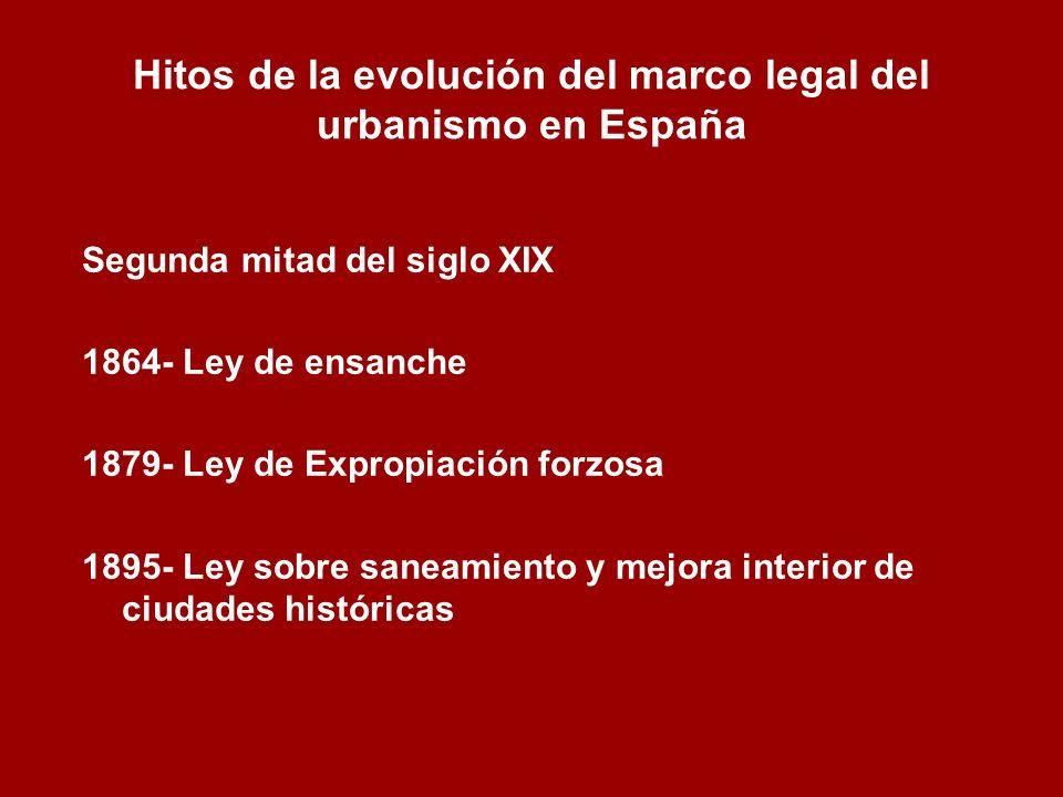 Hitos de la evolución del marco legal del urbanismo en España Segunda mitad del siglo XIX 1864- Ley de ensanche 1879- Ley de Expropiación forzosa 1895