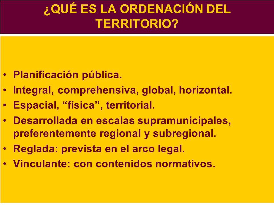¿QUÉ ES LA ORDENACIÓN DEL TERRITORIO? Planificación pública. Integral, comprehensiva, global, horizontal. Espacial, física, territorial. Desarrollada