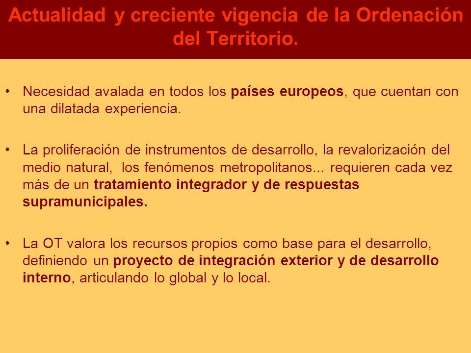 Actualidad y creciente vigencia de la Ordenación del Territorio. Necesidad avalada en todos los países europeos, que cuentan con una dilatada experien