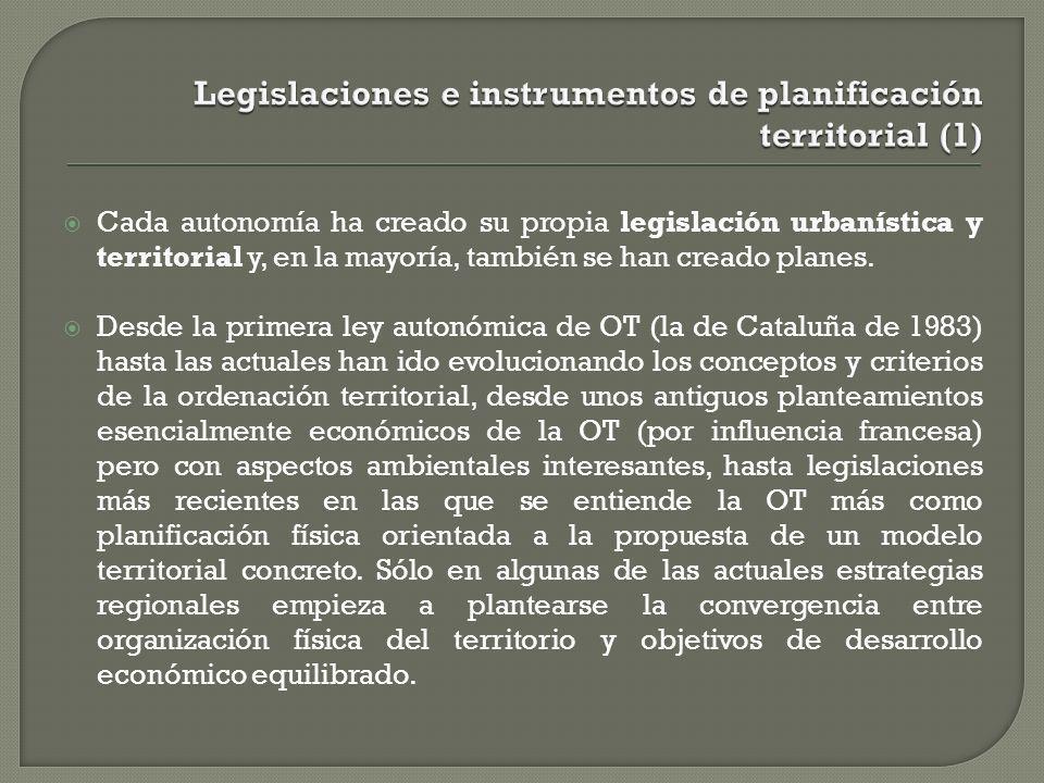 Cada autonomía ha creado su propia legislación urbanística y territorial y, en la mayoría, también se han creado planes. Desde la primera ley autonómi