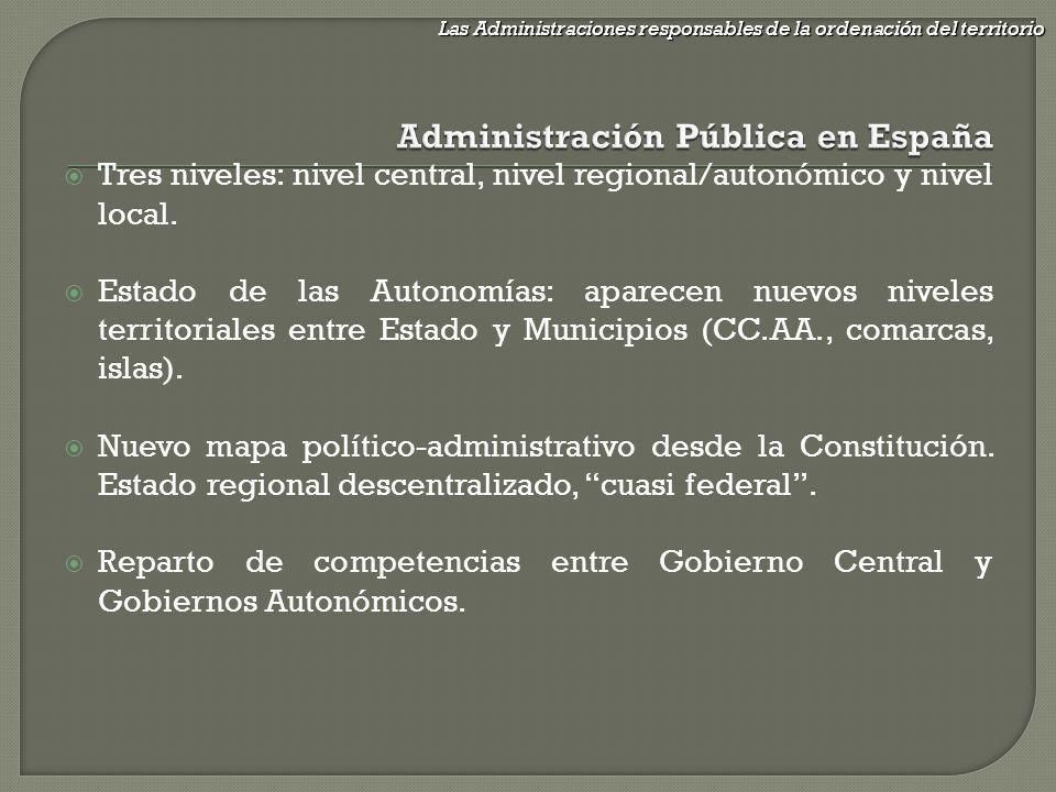 Tres niveles: nivel central, nivel regional/autonómico y nivel local. Estado de las Autonomías: aparecen nuevos niveles territoriales entre Estado y M