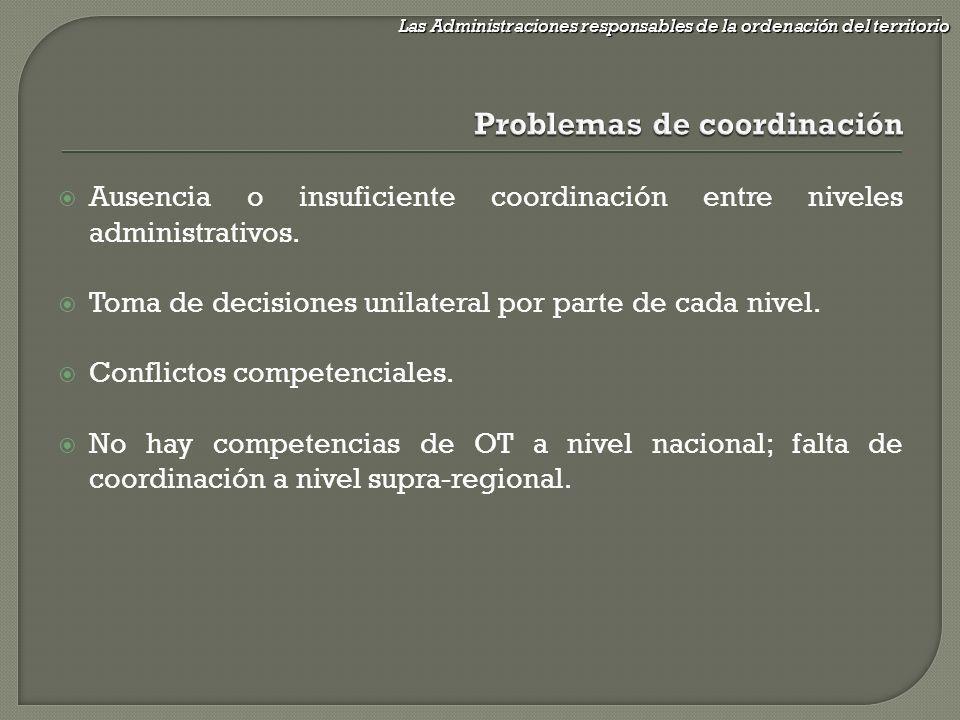Ausencia o insuficiente coordinación entre niveles administrativos. Toma de decisiones unilateral por parte de cada nivel. Conflictos competenciales.