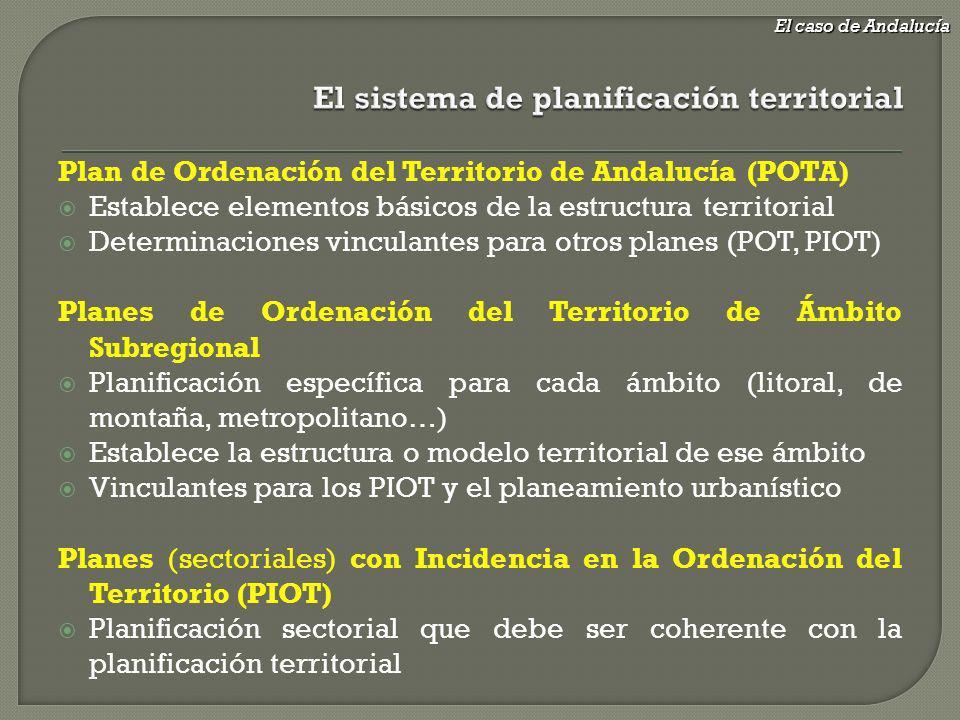 Plan de Ordenación del Territorio de Andalucía (POTA) Establece elementos básicos de la estructura territorial Determinaciones vinculantes para otros