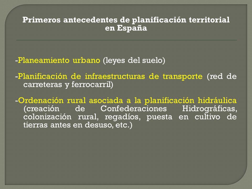 Primeros antecedentes de planificación territorial en España -Planeamiento urbano (leyes del suelo) -Planificación de infraestructuras de transporte (