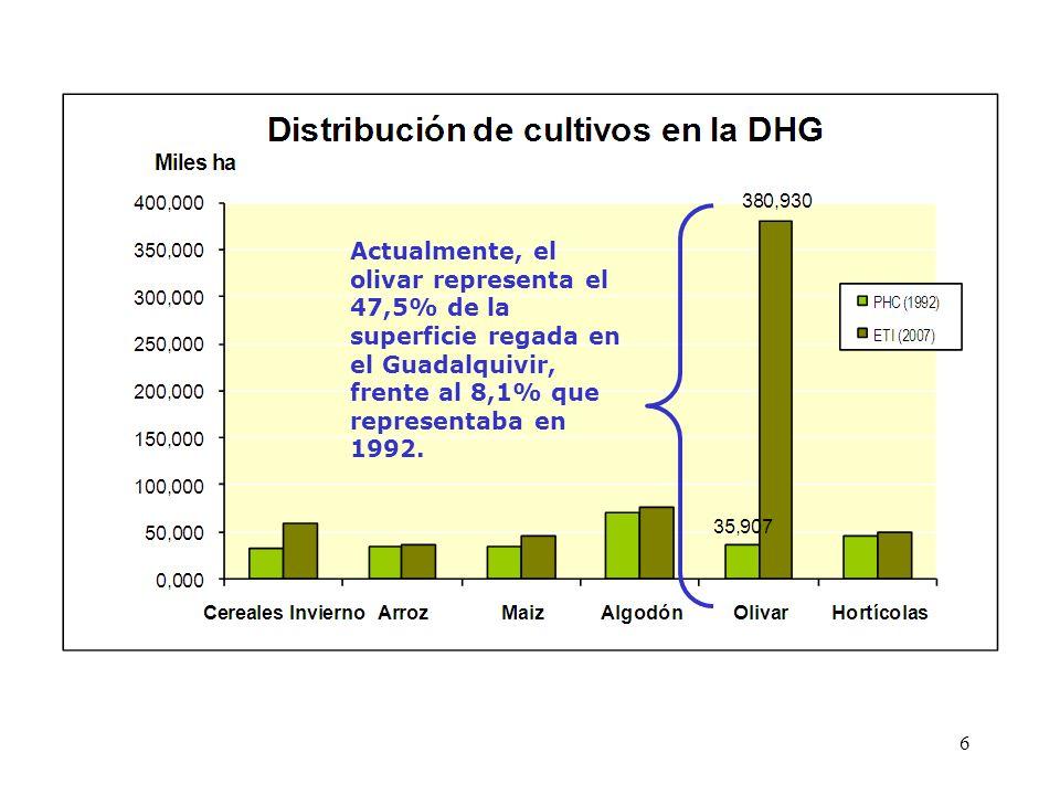 Actualmente, el olivar representa el 47,5% de la superficie regada en el Guadalquivir, frente al 8,1% que representaba en 1992. 6