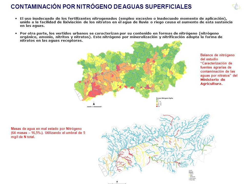CONTAMINACIÓN POR NITRÓGENO DE AGUAS SUPERFICIALES El uso inadecuado de los fertilizantes nitrogenados (empleo excesivo o inadecuado momento de aplicación), unido a la facilidad de lixiviación de los nitratos en el agua de lluvia o riego causa el aumento de esta sustancia en las aguas.
