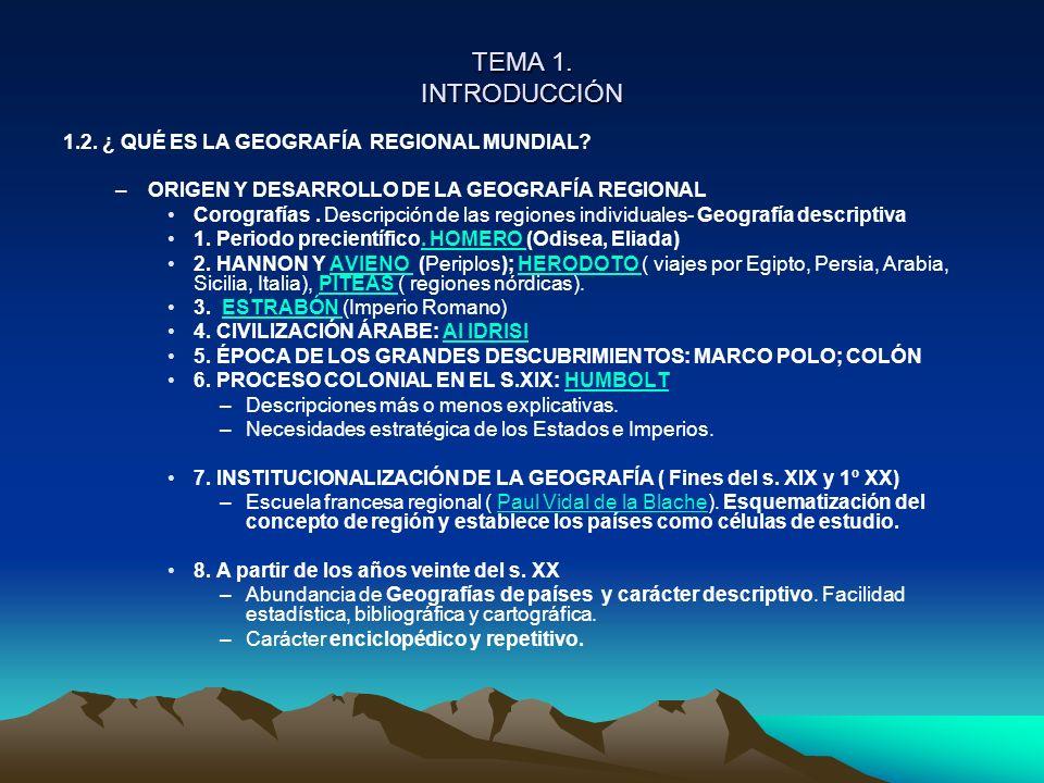 TEMA 1. INTRODUCCIÓN 1.2. ¿ QUÉ ES LA GEOGRAFÍA REGIONAL MUNDIAL? –ORIGEN Y DESARROLLO DE LA GEOGRAFÍA REGIONAL Corografías. Descripción de las region
