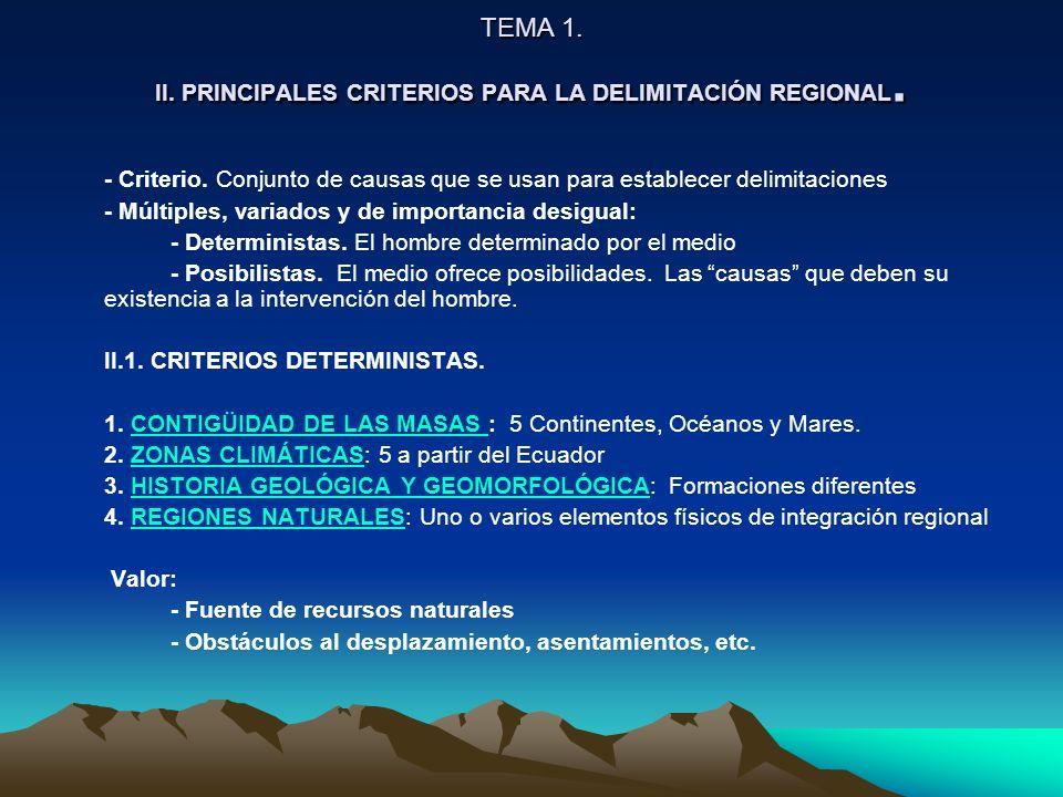 TEMA 1. II. PRINCIPALES CRITERIOS PARA LA DELIMITACIÓN REGIONAL. - Criterio. Conjunto de causas que se usan para establecer delimitaciones - Múltiples