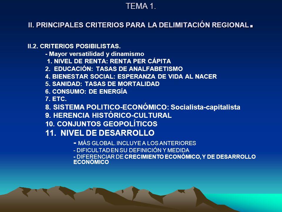 TEMA 1. II. PRINCIPALES CRITERIOS PARA LA DELIMITACIÓN REGIONAL. II.2. CRITERIOS POSIBILISTAS. - Mayor versatilidad y dinamismo 1. NIVEL DE RENTA: REN