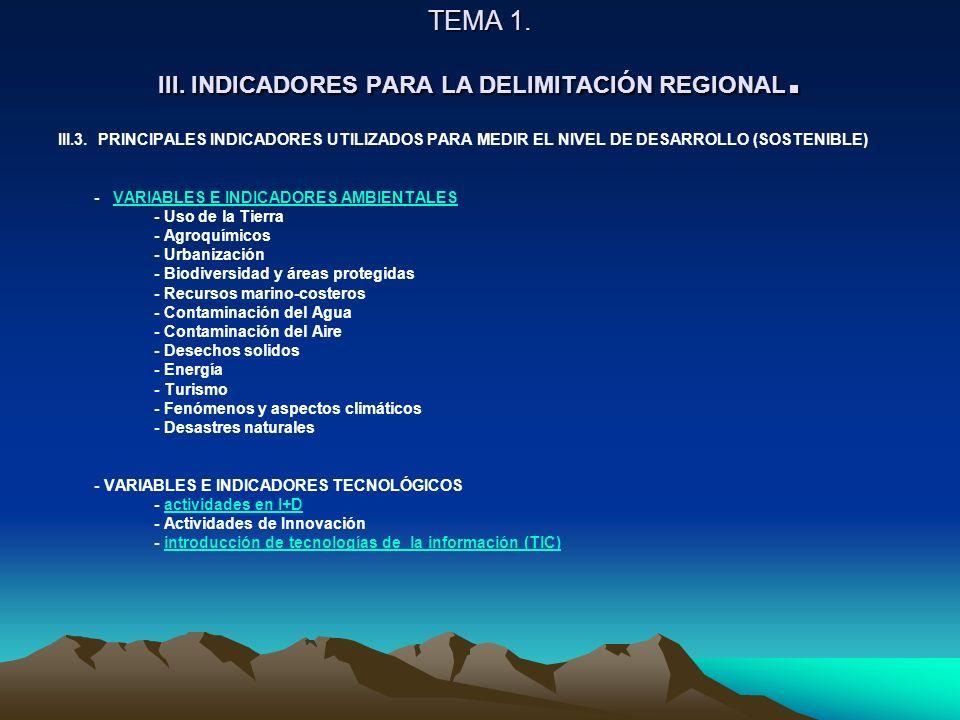 TEMA 1. III. INDICADORES PARA LA DELIMITACIÓN REGIONAL. III.3. PRINCIPALES INDICADORES UTILIZADOS PARA MEDIR EL NIVEL DE DESARROLLO (SOSTENIBLE) - VAR