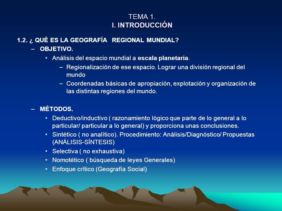 TEMA 1. I. INTRODUCCIÓN TEMA 1. I. INTRODUCCIÓN 1.2. ¿ QUÉ ES LA GEOGRAFÍA REGIONAL MUNDIAL? –OBJETIVO. Análisis del espacio mundial a escala planetar
