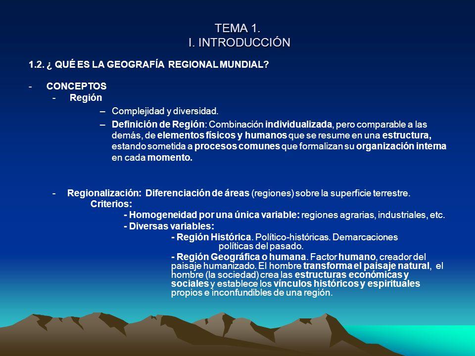 TEMA 1. I. INTRODUCCIÓN 1.2. ¿ QUÉ ES LA GEOGRAFÍA REGIONAL MUNDIAL? -CONCEPTOS - Región –Complejidad y diversidad. –Definición de Región: Combinación