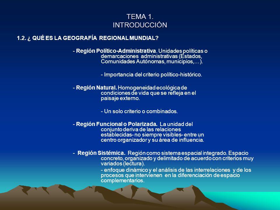 TEMA 1. INTRODUCCIÓN 1.2. ¿ QUÉ ES LA GEOGRAFÍA REGIONAL MUNDIAL? - Región Político-Administrativa. Unidades políticas o demarcaciones administrativas