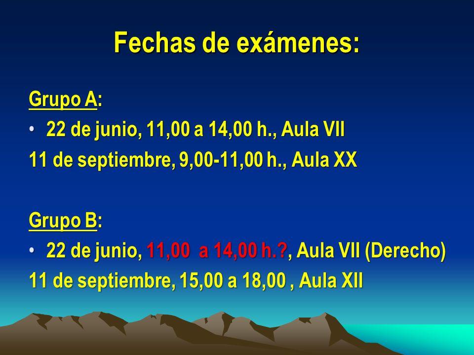 Fechas de exámenes: Grupo A: 22 de junio, 11,00 a 14,00 h., Aula VII 22 de junio, 11,00 a 14,00 h., Aula VII 11 de septiembre, 9,00-11,00 h., Aula XX