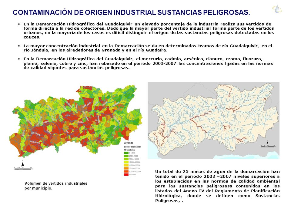 CONTAMINACIÓN DE ORIGEN INDUSTRIAL SUSTANCIAS PELIGROSAS. En la Demarcación Hidrográfica del Guadalquivir un elevado porcentaje de la industria realiz
