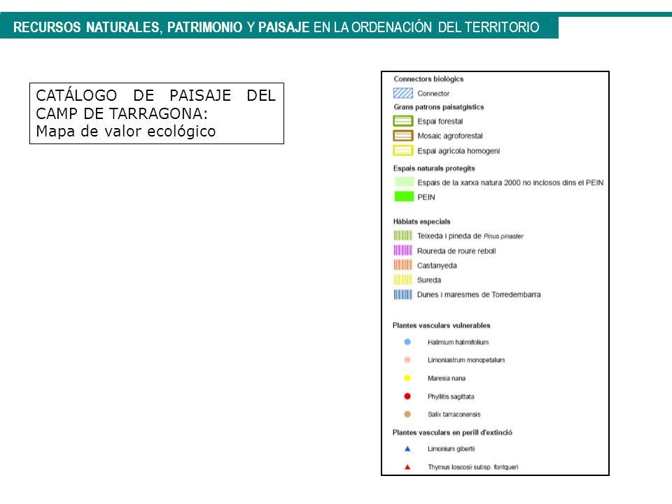 CATÁLOGO DE PAISAJE DEL CAMP DE TARRAGONA: Mapa de valor ecológico RECURSOS NATURALES, PATRIMONIO Y PAISAJE EN LA ORDENACIÓN DEL TERRITORIO
