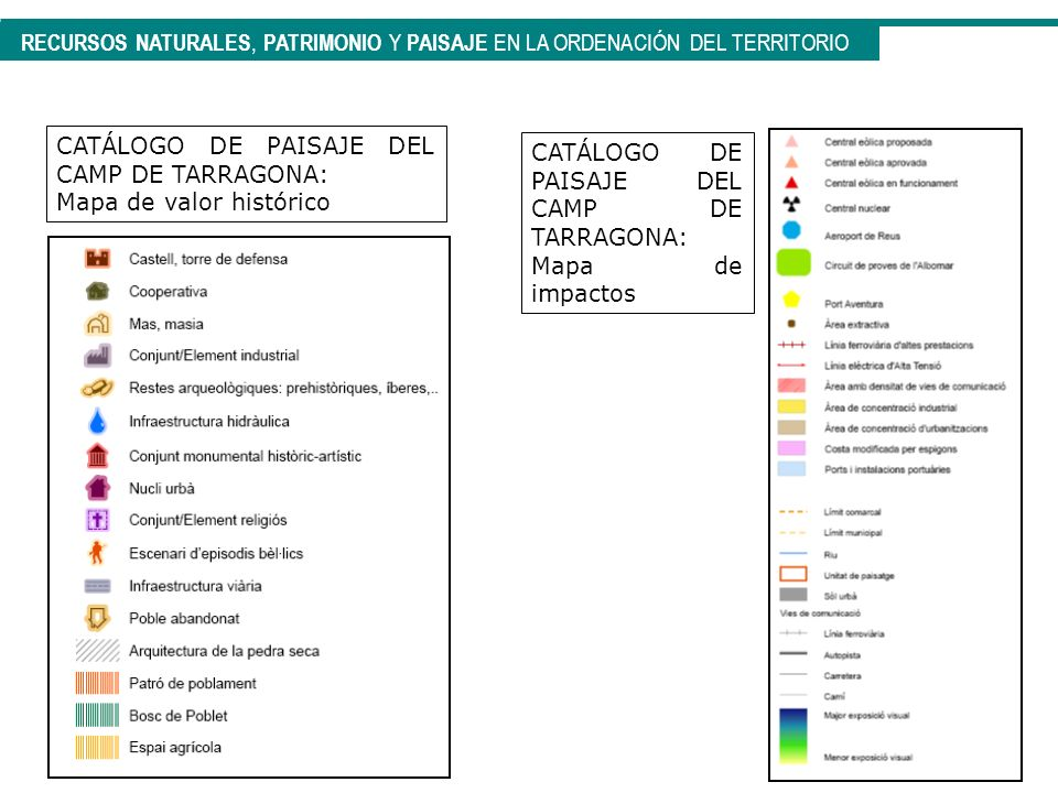 CATÁLOGO DE PAISAJE DEL CAMP DE TARRAGONA: Mapa de valor histórico CATÁLOGO DE PAISAJE DEL CAMP DE TARRAGONA: Mapa de impactos RECURSOS NATURALES, PAT