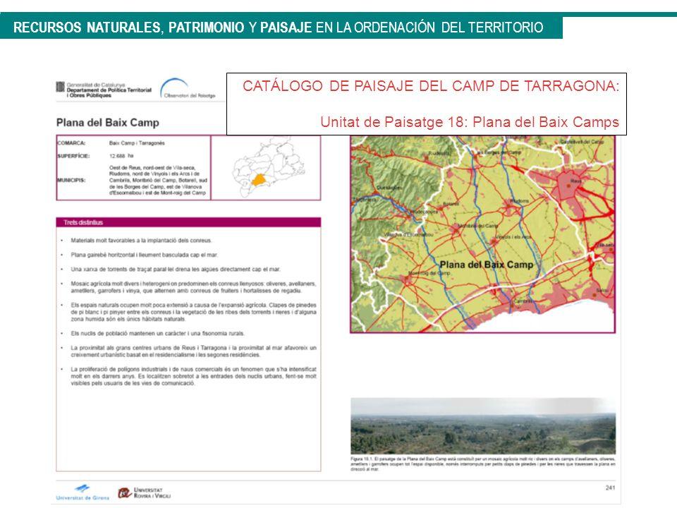 CATÁLOGO DE PAISAJE DEL CAMP DE TARRAGONA: Unitat de Paisatge 18: Plana del Baix Camps RECURSOS NATURALES, PATRIMONIO Y PAISAJE EN LA ORDENACIÓN DEL T
