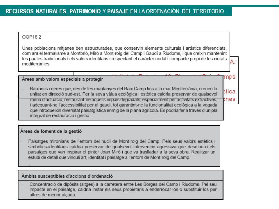 CATÁLOGO DE PAISAJE DEL CAMP DE TARRAGONA: Unitat de Paisatge 18: Plana del Baix Camps Objetivos de calidad paisajística Determinaciones RECURSOS NATU