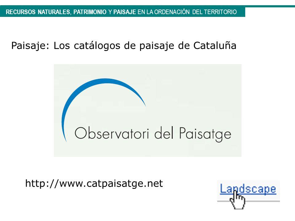 RECURSOS NATURALES, PATRIMONIO Y PAISAJE EN LA ORDENACIÓN DEL TERRITORIO Paisaje: Los catálogos de paisaje de Cataluña http://www.catpaisatge.net