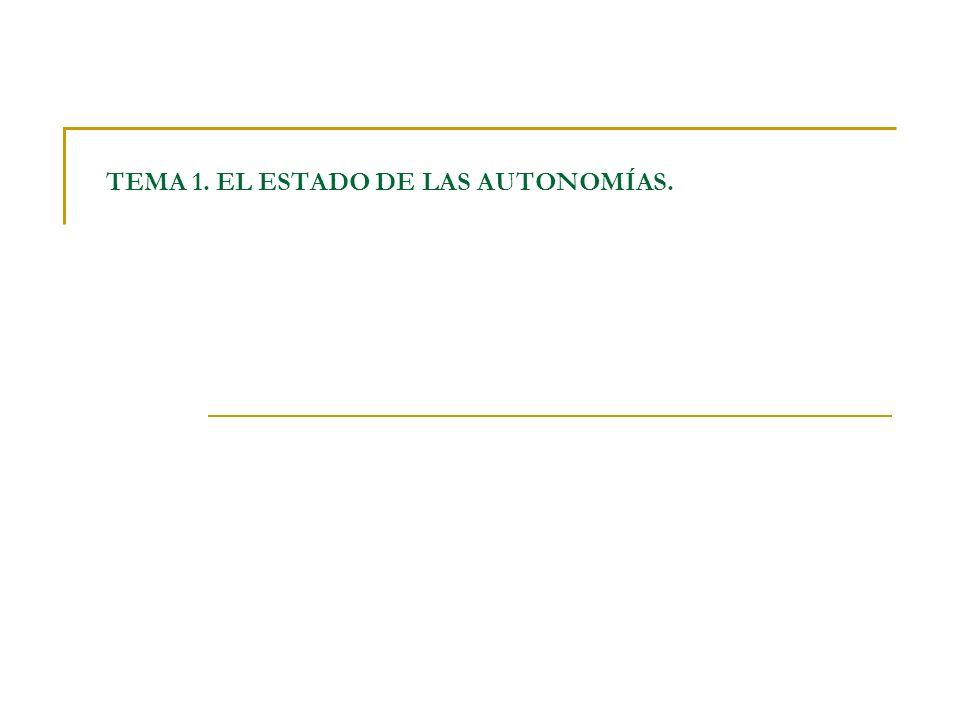 TEMA 1. EL ESTADO DE LAS AUTONOMÍAS.