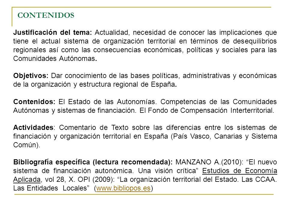 CONTENIDOS Justificación del tema: Actualidad, necesidad de conocer las implicaciones que tiene el actual sistema de organización territorial en térmi