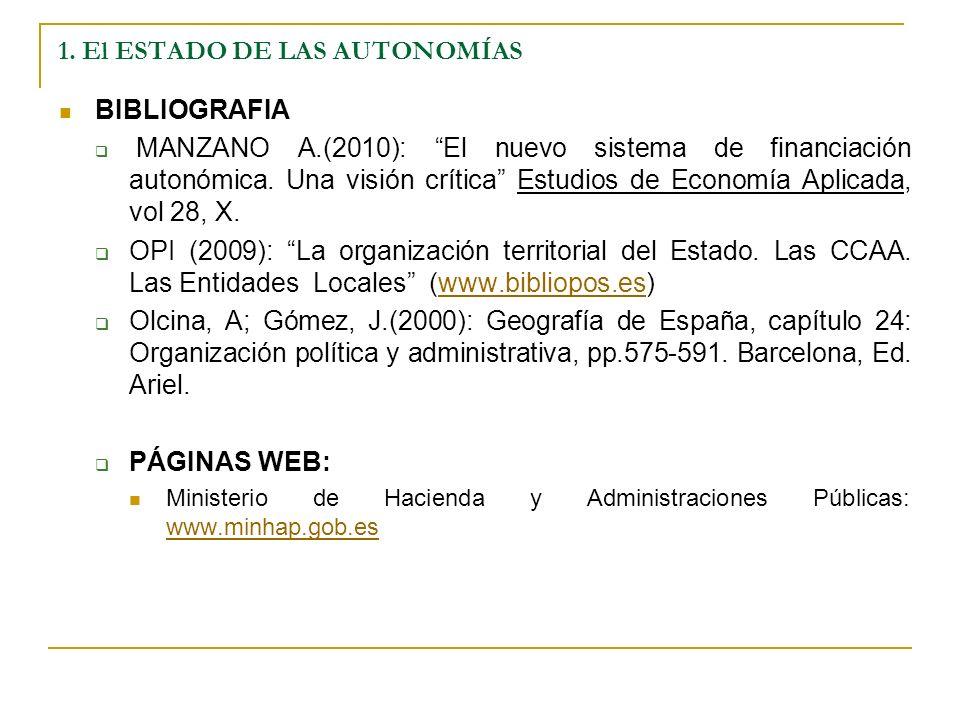 1. El ESTADO DE LAS AUTONOMÍAS BIBLIOGRAFIA MANZANO A.(2010): El nuevo sistema de financiación autonómica. Una visión crítica Estudios de Economía Apl