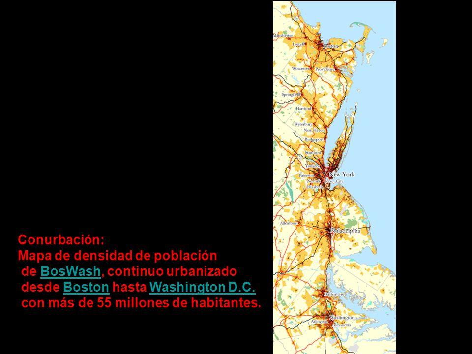 Conurbación: Mapa de densidad de población de BosWash, continuo urbanizadoBosWash desde Boston hasta Washington D.C.BostonWashington D.C. con más de 5