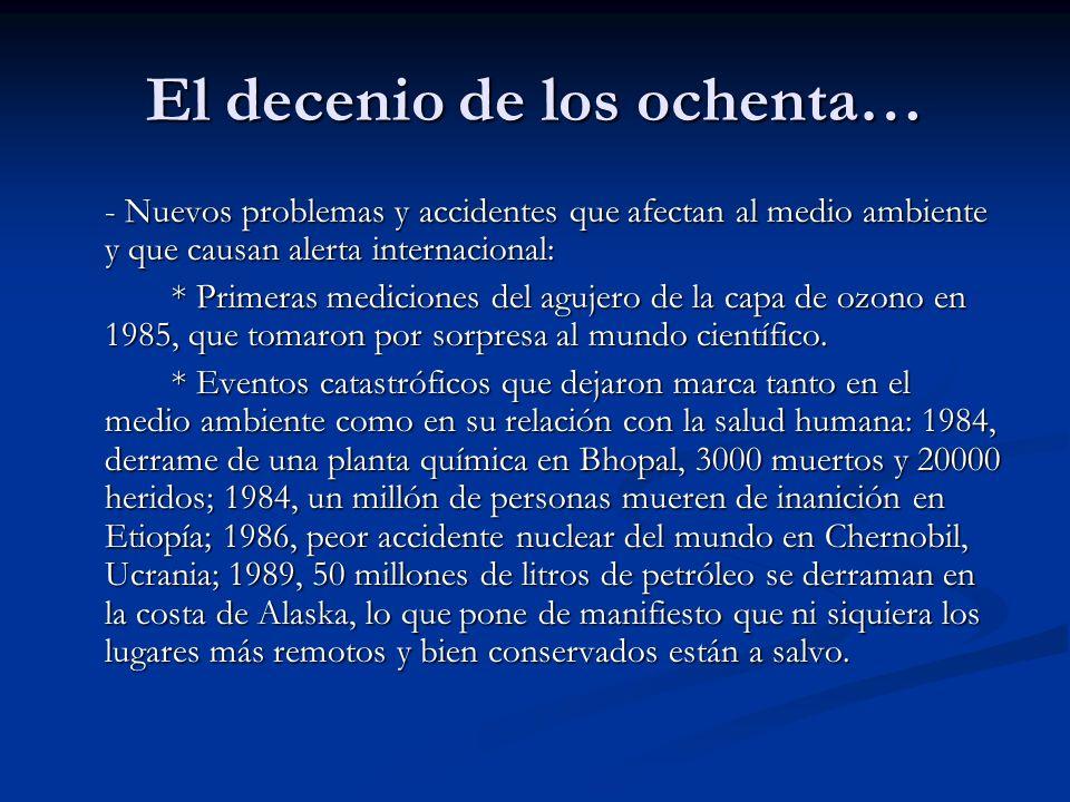 El decenio de los ochenta… - Nuevos problemas y accidentes que afectan al medio ambiente y que causan alerta internacional: * Primeras mediciones del