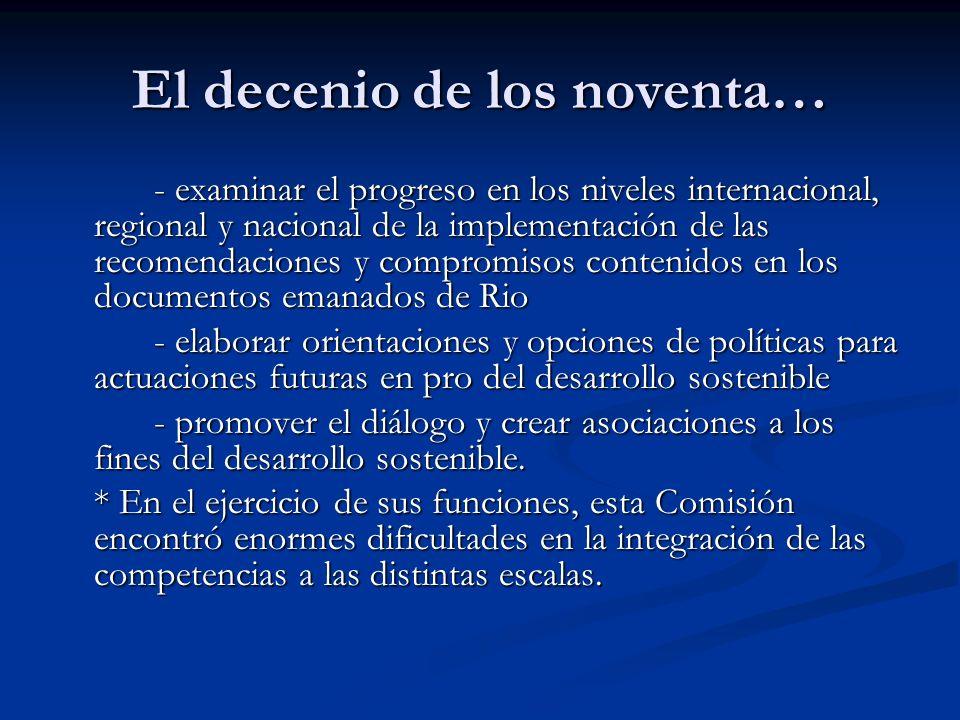 El decenio de los noventa… - examinar el progreso en los niveles internacional, regional y nacional de la implementación de las recomendaciones y comp