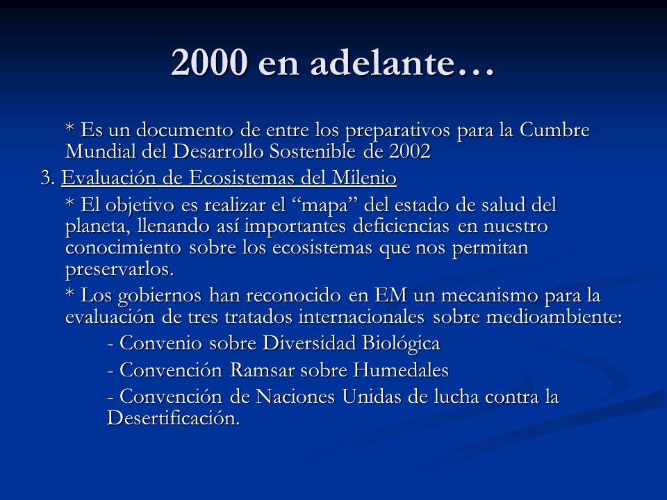 2000 en adelante… * Es un documento de entre los preparativos para la Cumbre Mundial del Desarrollo Sostenible de 2002 3. Evaluación de Ecosistemas de