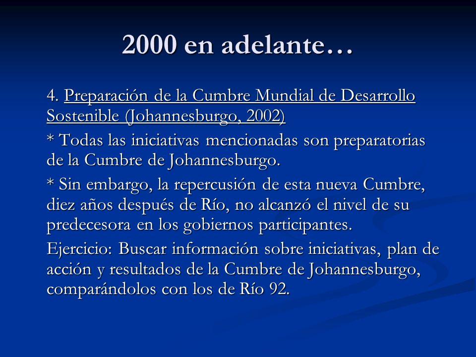 2000 en adelante… 4. Preparación de la Cumbre Mundial de Desarrollo Sostenible (Johannesburgo, 2002) * Todas las iniciativas mencionadas son preparato