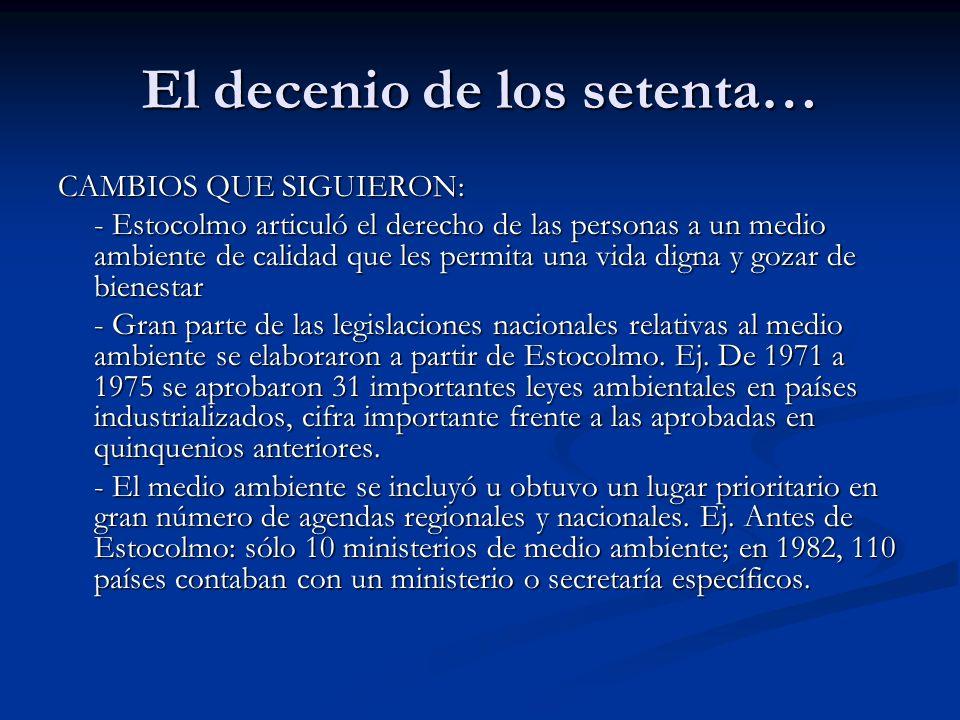 El decenio de los noventa… B) INICIATIVAS Y DOCUMENTOS SOBRE MEDIO AMBIENTE - La Cumbre de la Tierra.