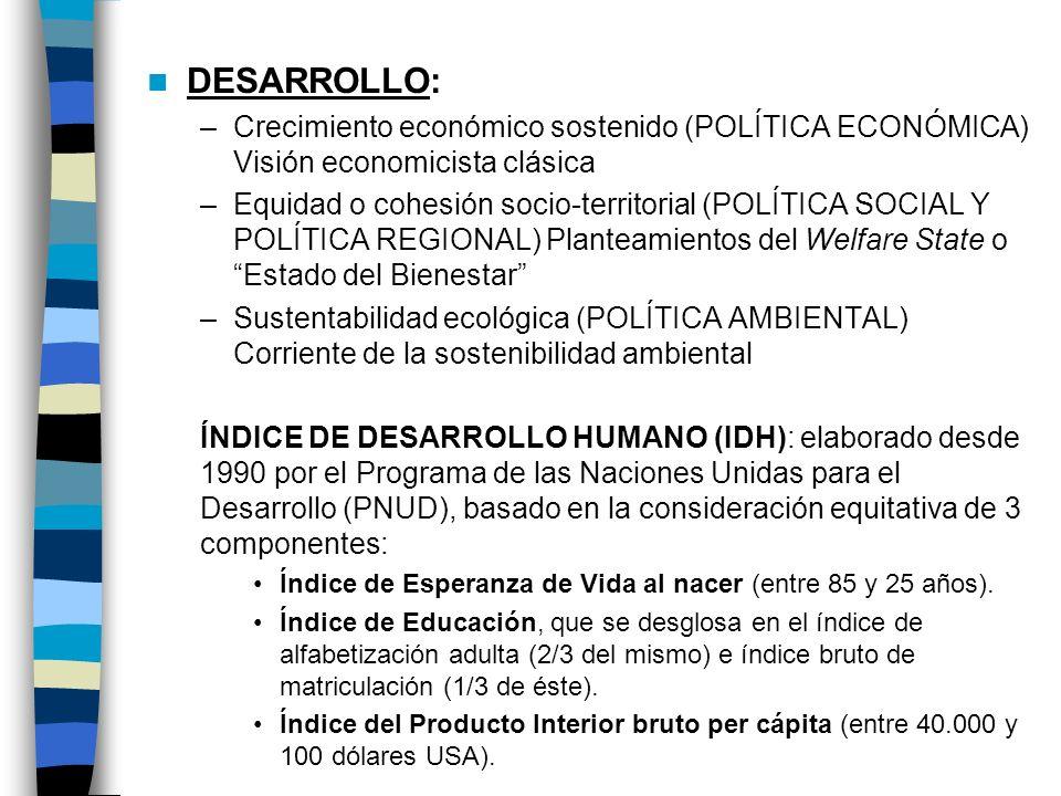 DESARROLLO: – Crecimiento económico sostenido (POLÍTICA ECONÓMICA) Visión economicista clásica – Equidad o cohesión socio-territorial (POLÍTICA SOCIAL