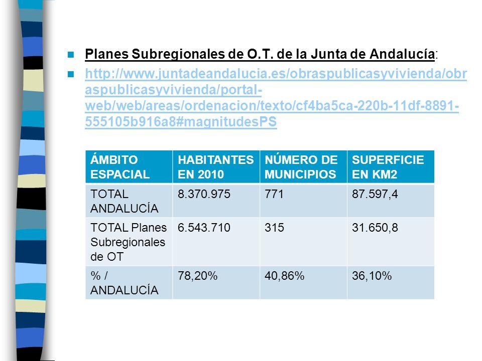 Planes Subregionales de O.T. de la Junta de Andalucía: http://www.juntadeandalucia.es/obraspublicasyvivienda/obr aspublicasyvivienda/portal- web/web/a