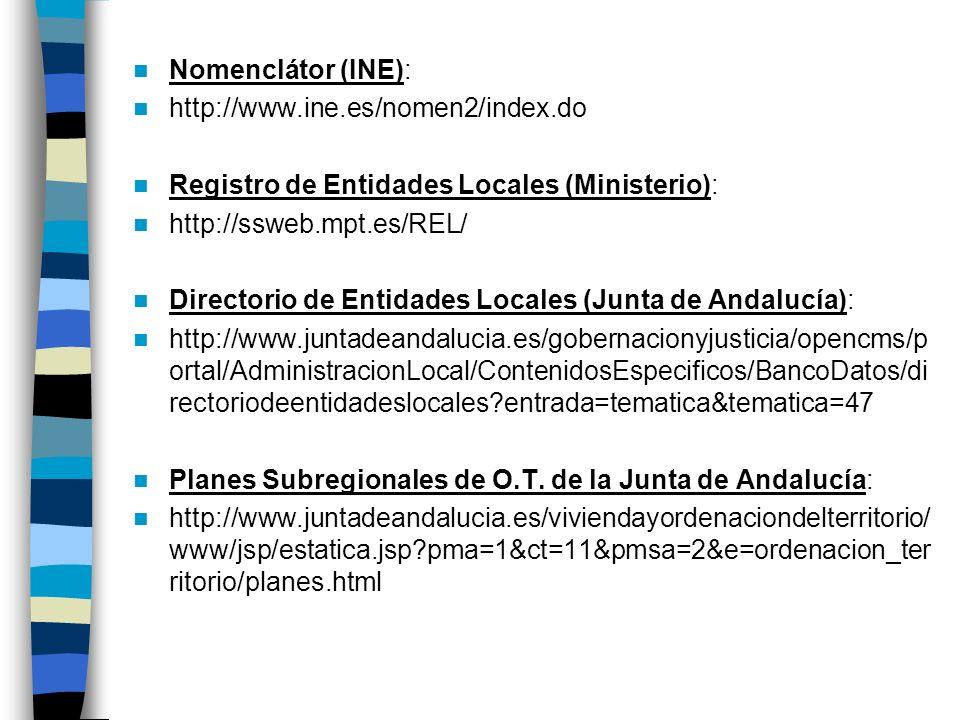 Nomenclátor (INE): http://www.ine.es/nomen2/index.do Registro de Entidades Locales (Ministerio): http://ssweb.mpt.es/REL/ Directorio de Entidades Loca