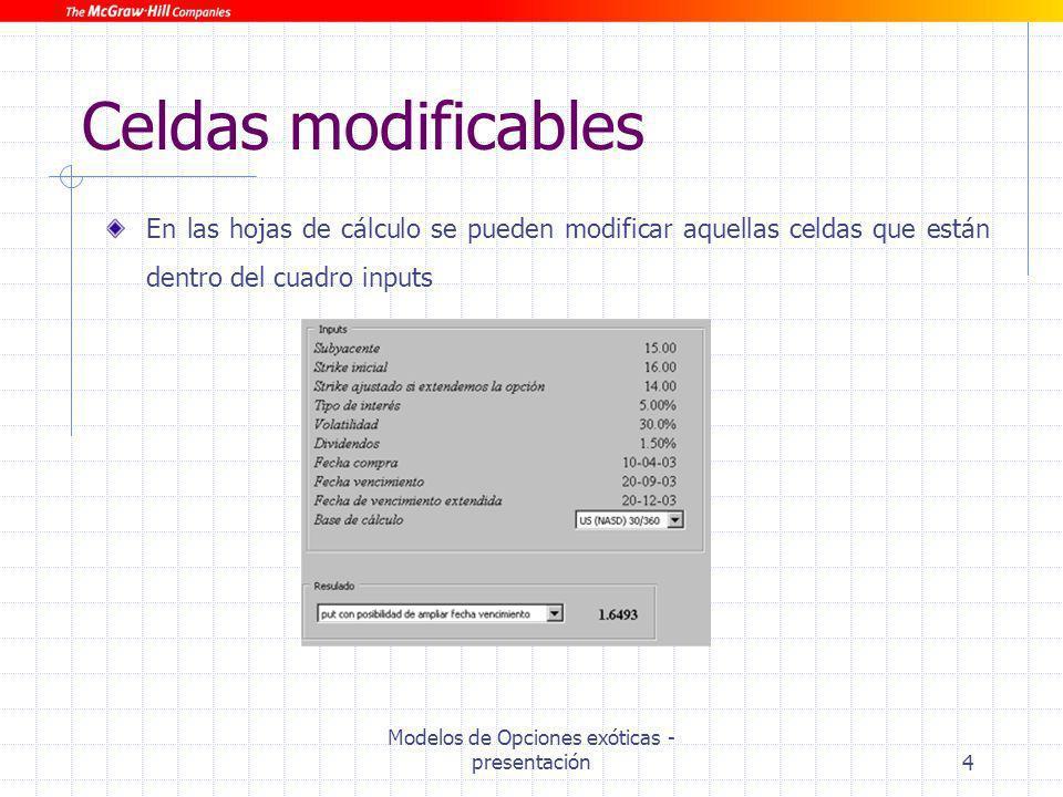 Modelos de Opciones exóticas - presentación4 Celdas modificables En las hojas de cálculo se pueden modificar aquellas celdas que están dentro del cuad