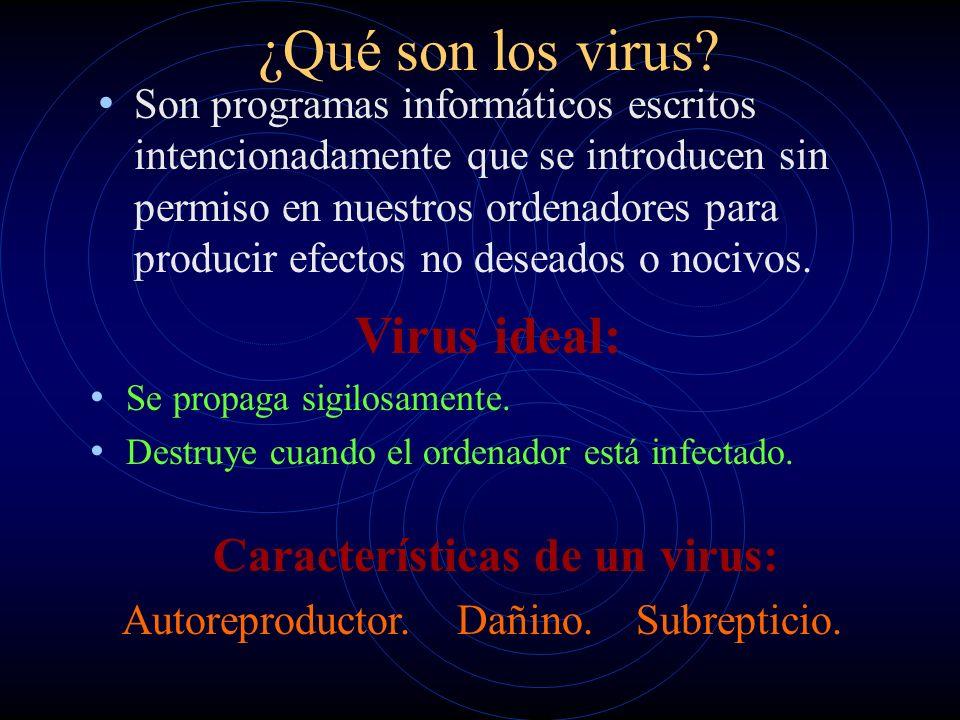 ¿Cómo nacieron los virus? Años 60 – Programadores: JUEGO (Core War) Hábitat del programa: la memoria del PC. Ganador: oponente, instrucción no válida.