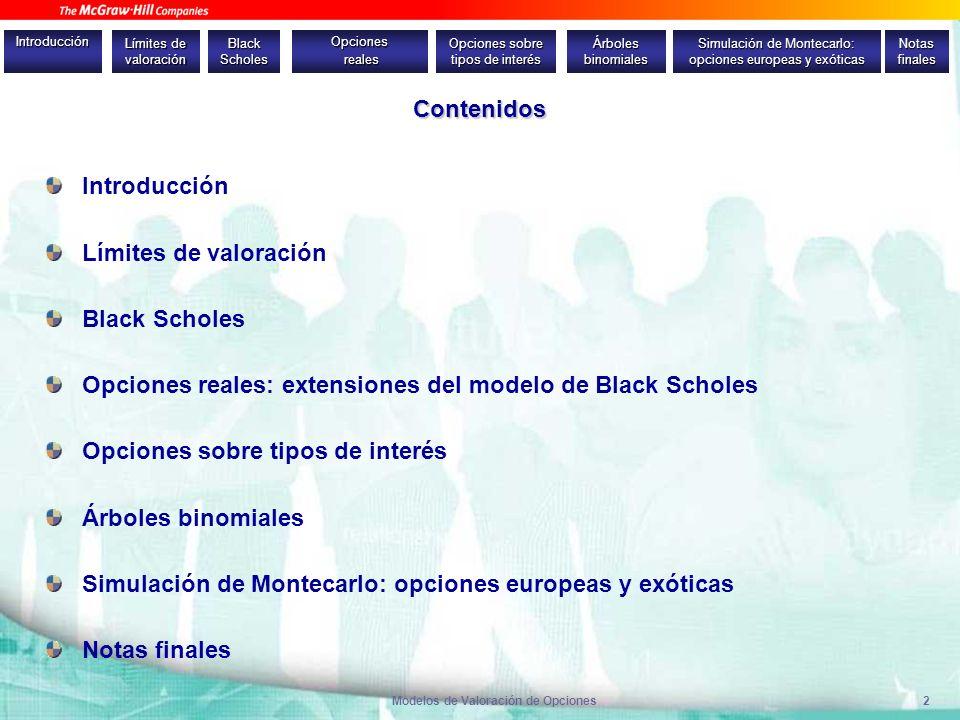 Modelos de Valoración de Opciones2 Contenidos Introducción Límites de valoración Black Scholes Opciones reales: extensiones del modelo de Black Schole
