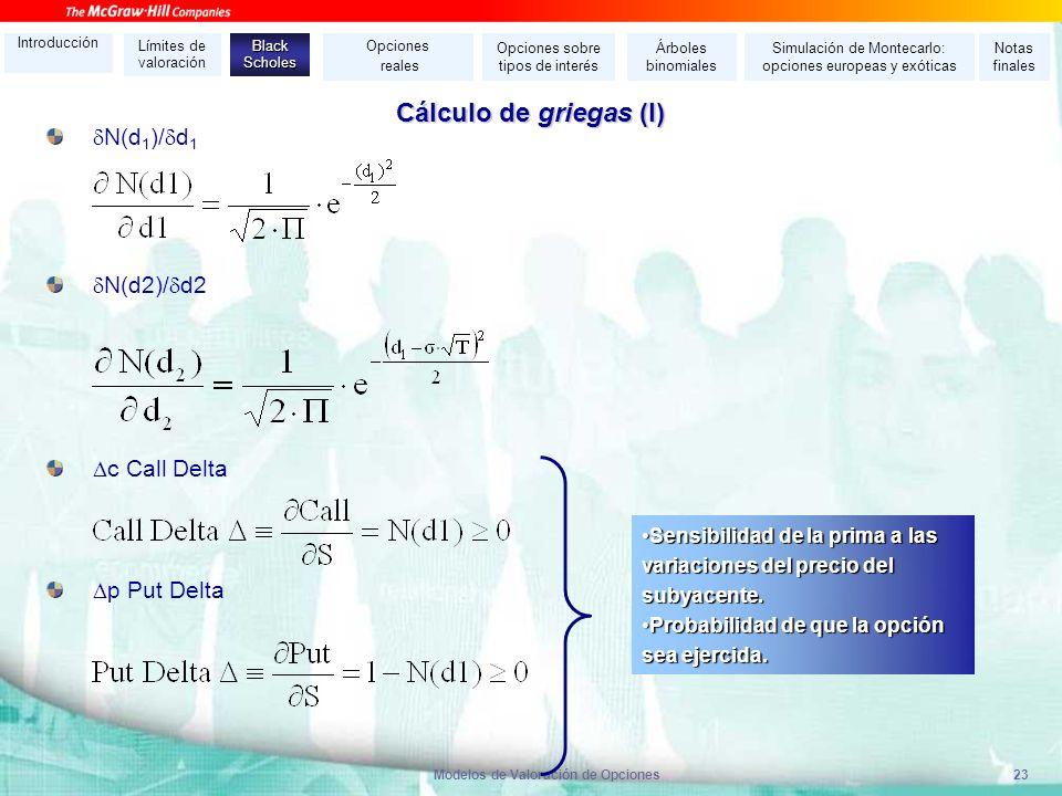 Modelos de Valoración de Opciones23 Cálculo de griegas (I) N(d 1 )/ d 1 N(d2)/ d2 c Call Delta p Put Delta Sensibilidad de la prima a las variaciones