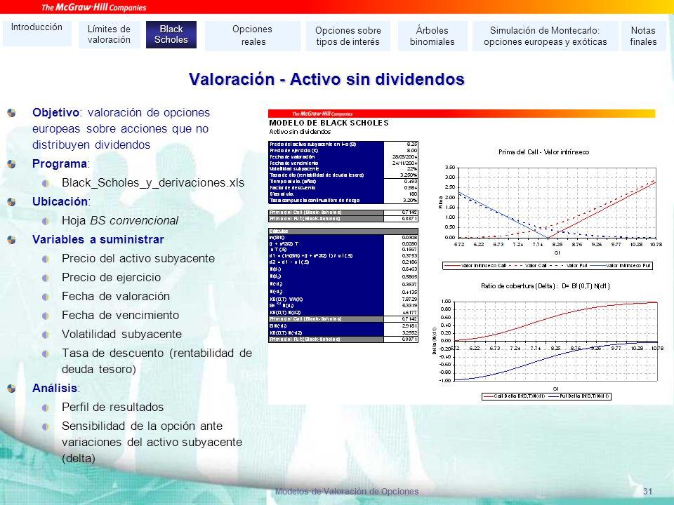 Modelos de Valoración de Opciones31 Valoración - Activo sin dividendos Objetivo: valoración de opciones europeas sobre acciones que no distribuyen div