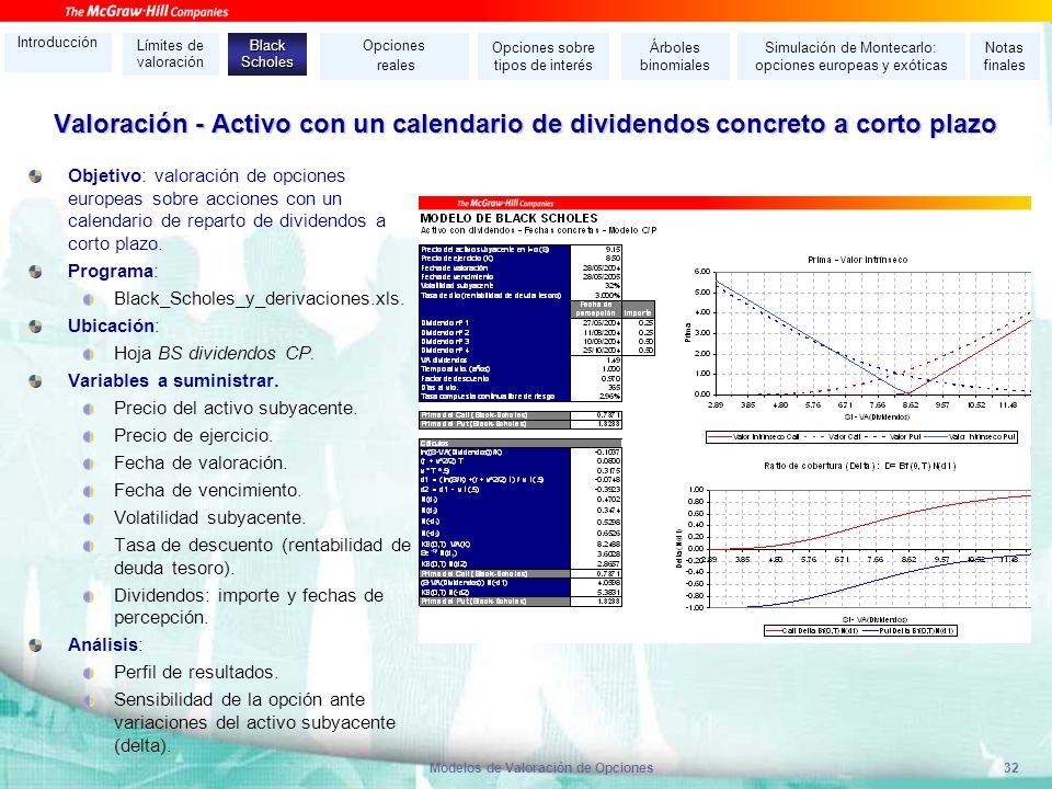 Modelos de Valoración de Opciones32 Valoración - Activo con un calendario de dividendos concreto a corto plazo Objetivo: valoración de opciones europe