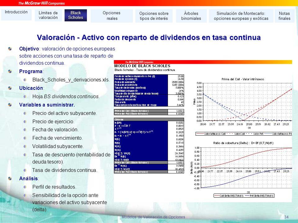 Modelos de Valoración de Opciones34 Valoración - Activo con reparto de dividendos en tasa continua Objetivo: valoración de opciones europeas sobre acc