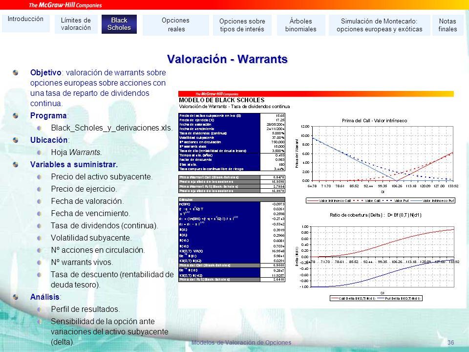 Modelos de Valoración de Opciones36 Valoración - Warrants Objetivo: valoración de warrants sobre opciones europeas sobre acciones con una tasa de repa